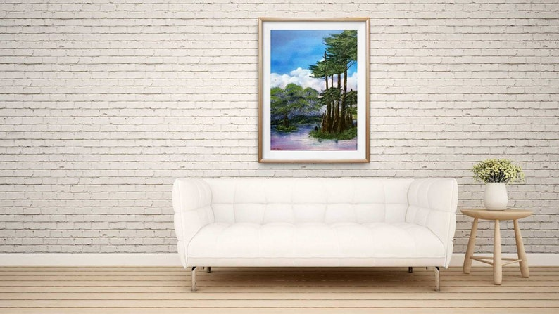 Original Landscape Painting,Oil Painting On Stretched Canvas Water Scene Painting,Forest Painting Ready To Hang Original Oil Painting