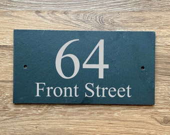"""Stainless Steel House Number Door Sign Name Sign /""""Heart/"""" with laser engraving on request"""