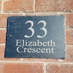 Large Slate House Address Plaque Sign 29cmx21.5cm, Real etched Slate door number