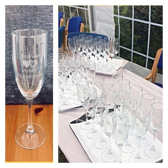 X90 Personalised Wedding Champagne, Glass Champagne Flutes Bulk
