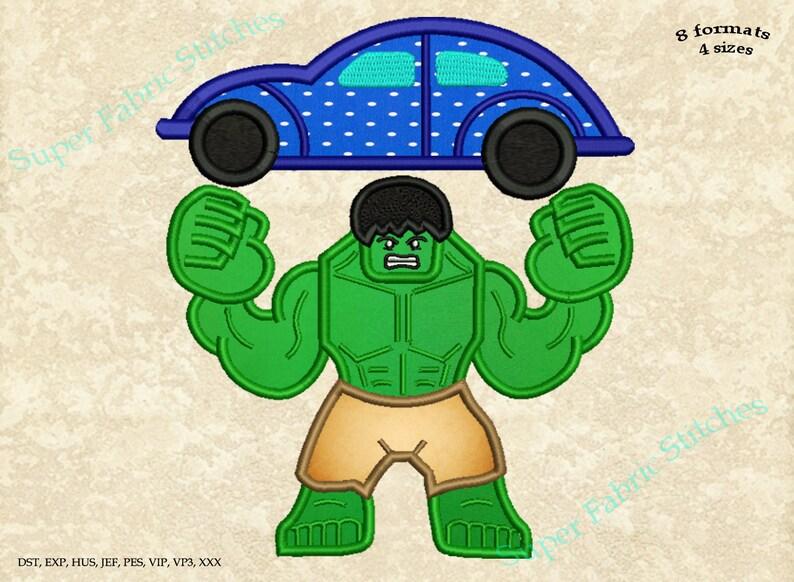 Disegni Di Ricamo Applique Di Hulk Hulk Con Auto Supereroe Etsy