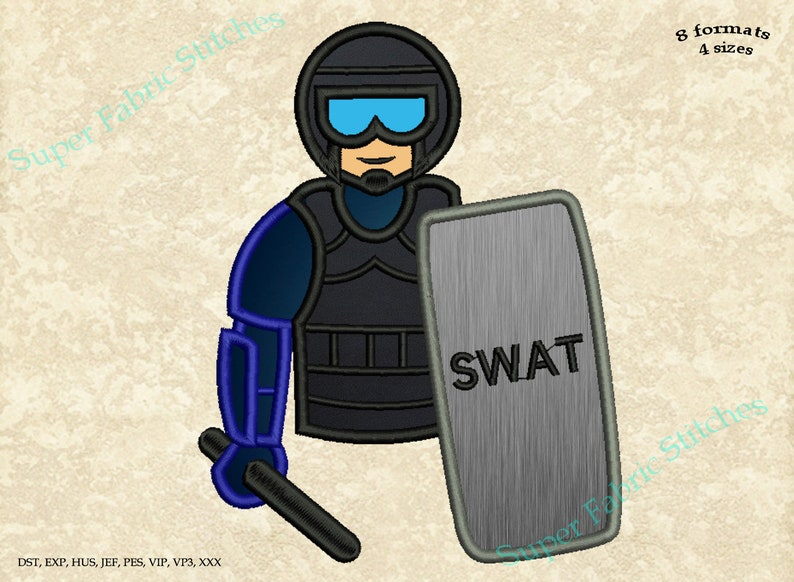 SWAT Embroidery Designs 8 formats in 4 sizes #085 Police  SWAT Applique Embroidery Designs Digital instant download file