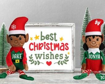 Personalized Plush Christmas Elf, Medium Skin Tone, Custom Name, Christmas Gift Idea