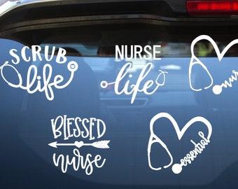Nurse Doctor RN Decals, Blessed Nurse, Scrub Life, Nurse Life, Essential   Vinyl Decal for Cars, Trucks, Cups, Laptops, Coolers, etc.