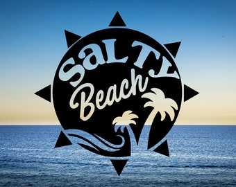 Salty Beach Vinyl Decal for Cars, Trucks, Cups, Laptops, Coolers, etc.