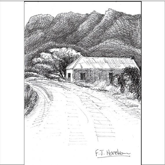 Plume Et Encre Croquis Dessin Noir Et Blanc Paysage Col Vieille Maison Sans Frais Les Montagnes Outeniqua George Afrique Du Sud Montagu Pass