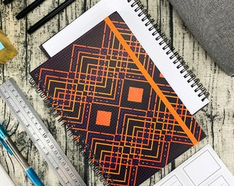 """Miliko A5 Color Geometry Series Hardcover Wirebound/Spiral Notebook/Journal, 8.27""""x5.70"""" (College Ruled)"""