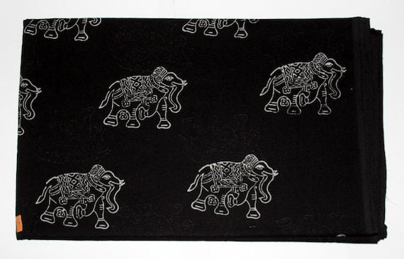 Red Elephant Print Fabric 5 Yards Indigo Block Printed Fabric Block Print Fabric Yellow Elephant Hand Printed Fabric Cotton Fabric