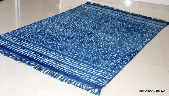 Indian Tie Dye Indigo Blue Abstract Design Floor Runner Cotton Carpet Area Rug