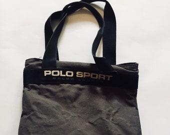 7115edfb1d30 Ralph Lauren Polo Tote Vintage Grey Black Bag Purse