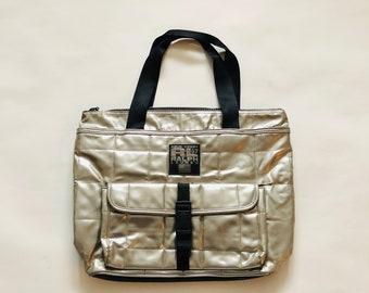 298bcb866991 Vintage Ralph Lauren Polo sac fourre-tout sac ordinateur portable noir  argent métallisé