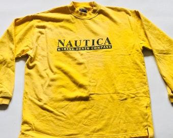 Vintage Nautica Marine Denim Company Crewneck Pullover Yellow Navy Blue Jumper Sweatshirt