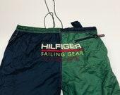 Vintage Tommy Hilfiger Sailing Gear Swim Trunks Green Yellow Blue Red Beach Pool Trunks
