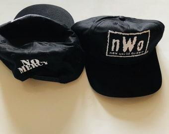 b42b6ee5 Deadstock Vintage Nwo WCW Black White Logo Snapback Cap Hat Flat Hulk Hogan  Bret Hart Randy Savage Sting WWE New World Order