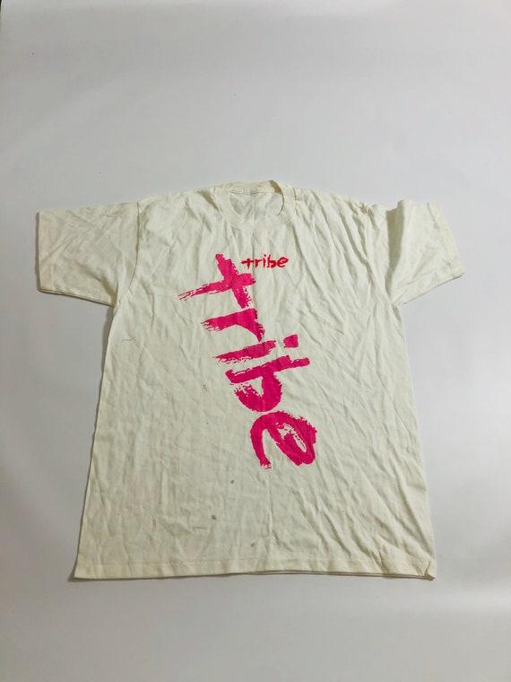 Vintage Tribe Big Logo Pink White T-Shirt 90's Hip
