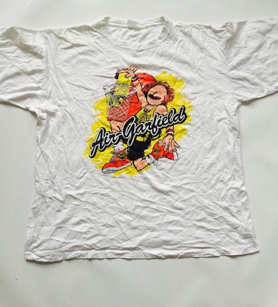 Vintage Air Garfield White Orange Yellow Basketball T Shirt Etsy
