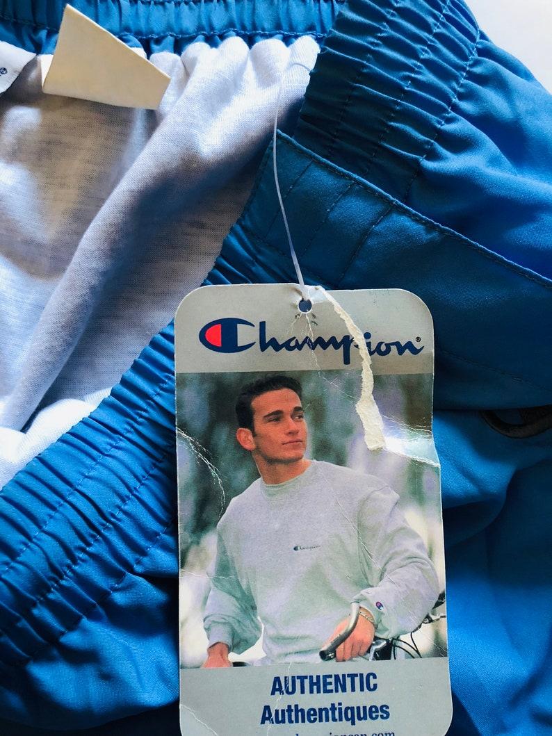 Vintage Champion Tearaway Track Pants Deadstock Jogging Pants 90s Classic Logo Joggers Blue Grey Sweatpants