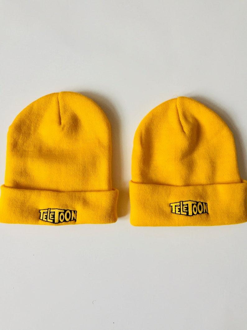 Teletoon Vintage Cartoon Beanie Cap Skull Hat Winter Yellow