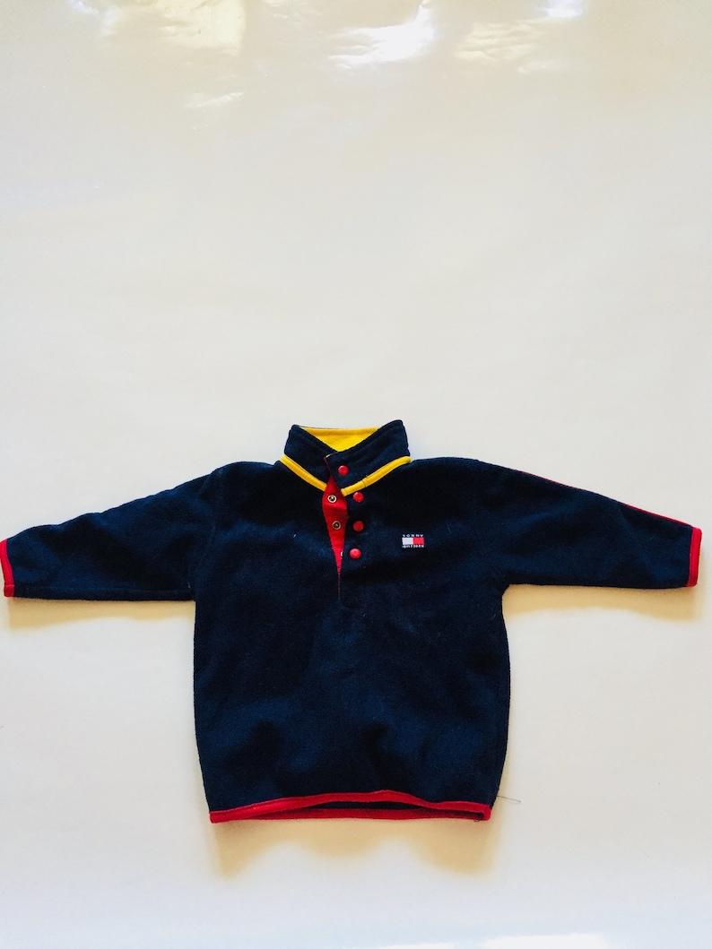 5e270e8d Tommy Hilfiger Fleece Kids Navy Blue Red Yellow Sweater | Etsy