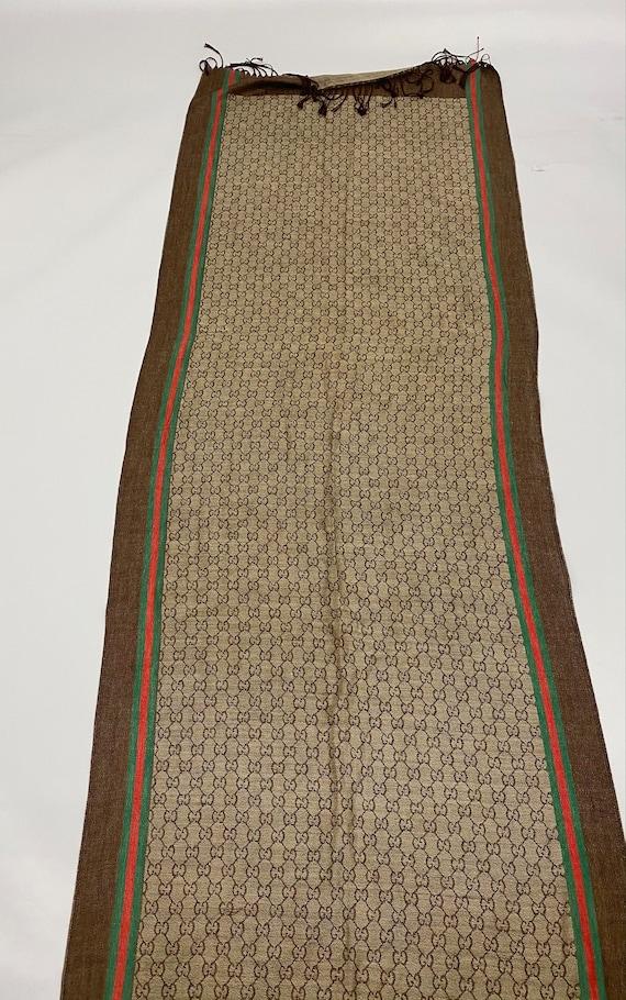 Vintage Gucci GG Web Wool Scarf Brown Red Wool Sil