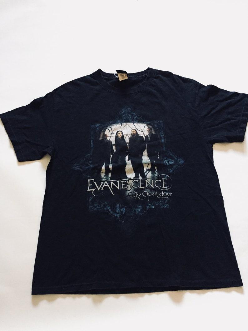 Vintage Evanescence Black Blue Top Rock Heavy Metal Gothic Grunge T Shirt Rocker Single Stitch Shirt