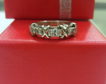 1d8118375 Tiffany & Co. 18K Solid White Gold Schlumberger 6 Natyral Diamond Ring Size  7.5 Very Rare