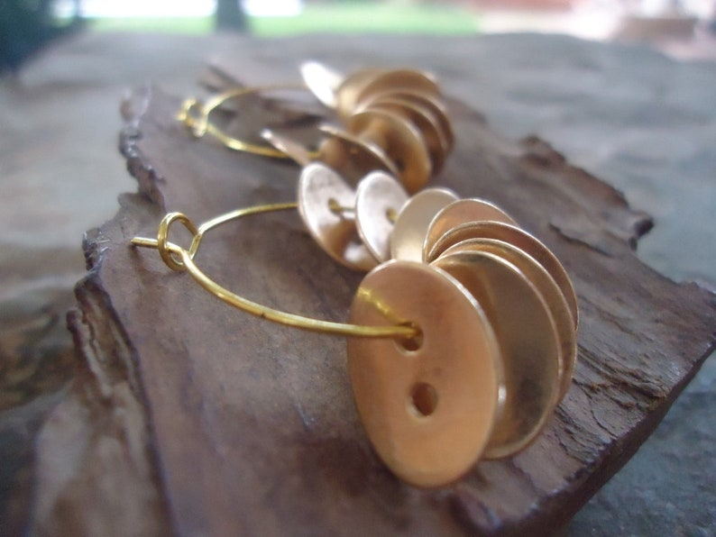 Gold Hoop Earrings With Buttons /& Coconut  Earr