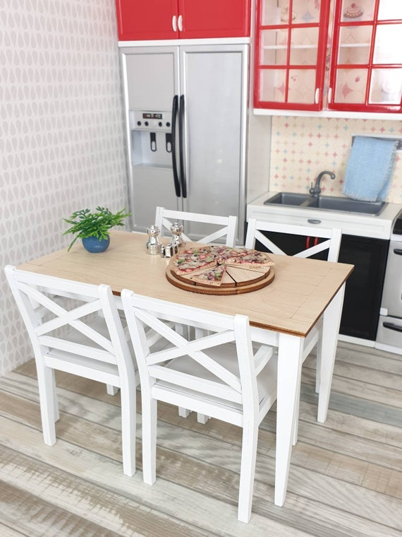 Miniature furniture set: dining table + 4 chairs, 1/6 doll kitchen, doll furniture, BJD roombox, dollhouse table, Barbie, Blythe, DIY kit