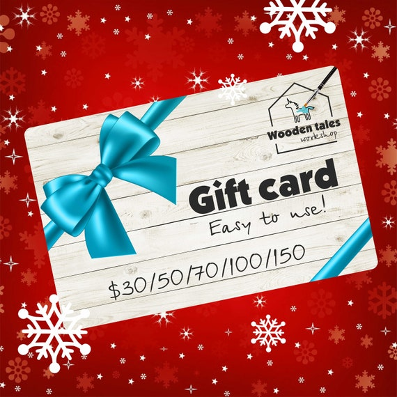 Gift card 30/50/70/100/150 USD, Wooden tales workshop gift card, shop gift card, gift certificate, last minute gift, Christmas gift