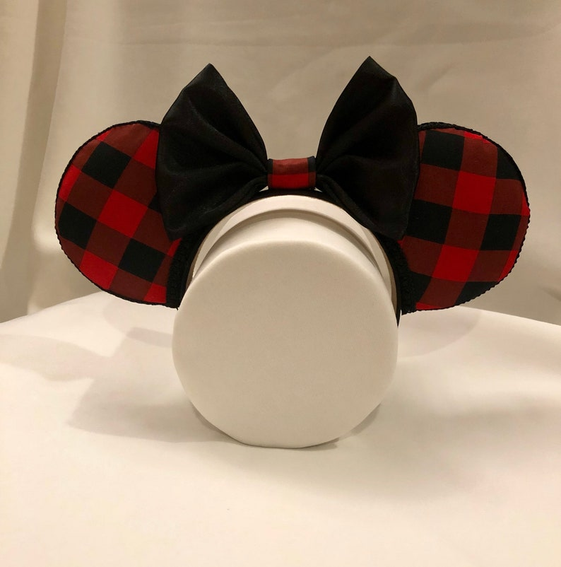 Buffalo Check Minnie Ears  Buffalo Plaid Ears  Red Minnie Ears  Holiday Minnie Ears  Christmas Minnie Ears  Disney Mickey Mouse Ears