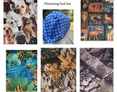 Humming Bird Medical Surgical Scrub Hat Cap - Camo - Dogs - Under The Sea - Fish - Turtle - Deer - Moose - Hunting