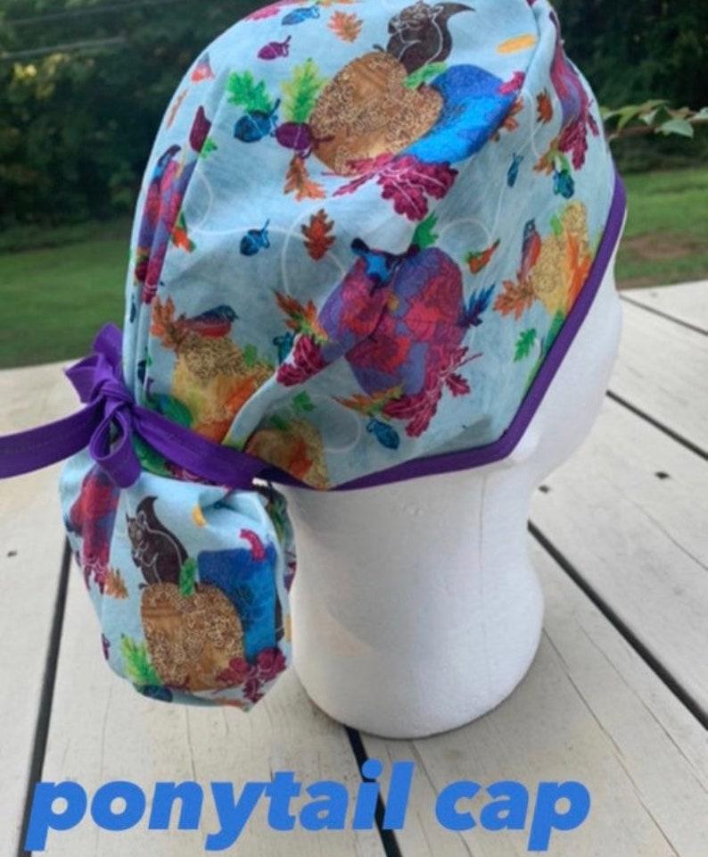 Bouffant -Humming Bird Ponytail Back Gathered Back Hat  Cap Multiple Patterns  Colors Men\u2019s Choose Your Own Medical Surgical Scrub