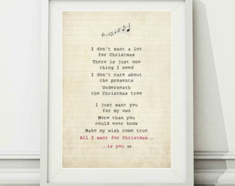 mariah carey all i want for christmas is you song lyric art poster print sizes a4 a3 - All I Want For Christmas Is You Mariah Carey Lyrics