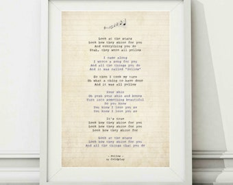 Coldplay etsy coldplay yellow song lyric art poster print sizes a4 a3 stopboris Gallery