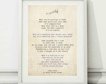 Oceans lyrics etsy ocean colour scene robin hood song lyric art poster print sizes a4 a3 stopboris Image collections