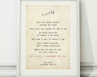 Song lyric art etsy brandi carlile the story song lyric art poster print sizes a4 a3 stopboris Gallery