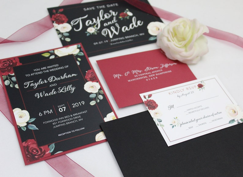 Red and White Flowers  Wedding Invitation Suite