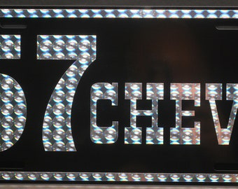 1957 57 CHEVY 70's Style PRISM Metal License Plate 6 X 12 TAG Chevrolet