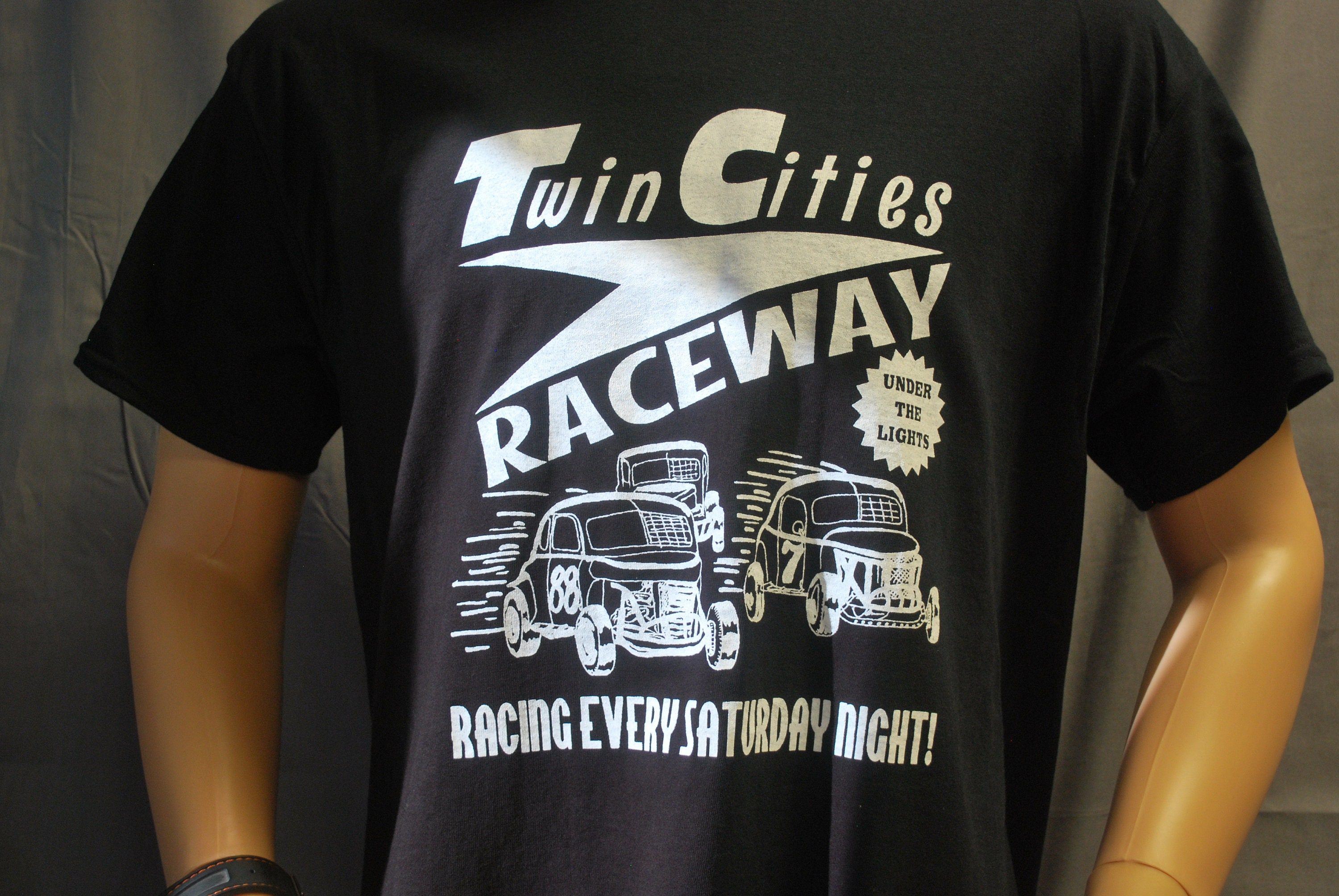 1950s Men's Ties, Bow Ties – Vintage, Skinny, Knit T-Shirt Twin Cities Raceway Jalopy Mens Adult Tee By Race City Retro Vintage Rockabilly Nostalgia Modified Automotive Race Dirt Track Gift $16.95 AT vintagedancer.com