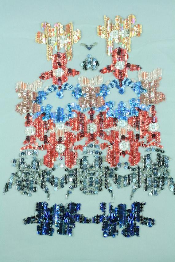 Panneau brodé personnalisé avec Multi couleur de paillettes, Locrosens perles et Locrosens paillettes, d0511d