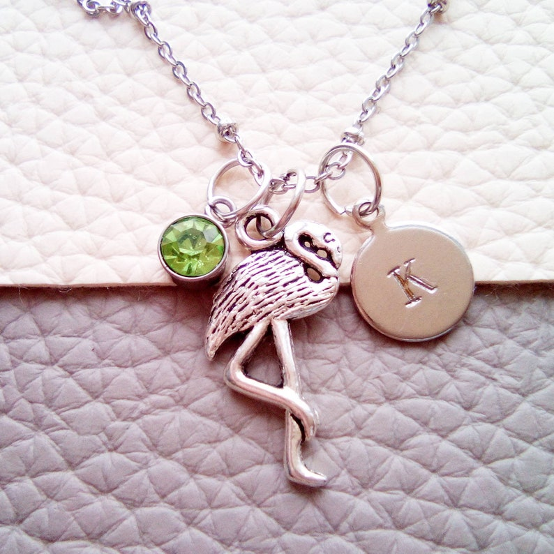 Flamingo Party Necklace Flamingo Necklace Silver Flamingo Jewelry for Girls Personalized Initial Necklace Flamingo Birthday Gift