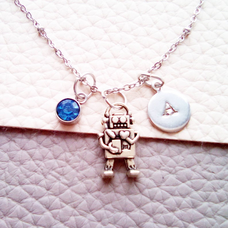 Robot Charm Monogram Necklace Geek Jewelry Robot Jewelry Geek Gif Custom Gift Robot Charm Necklace Robot Pendant Personalized Necklace