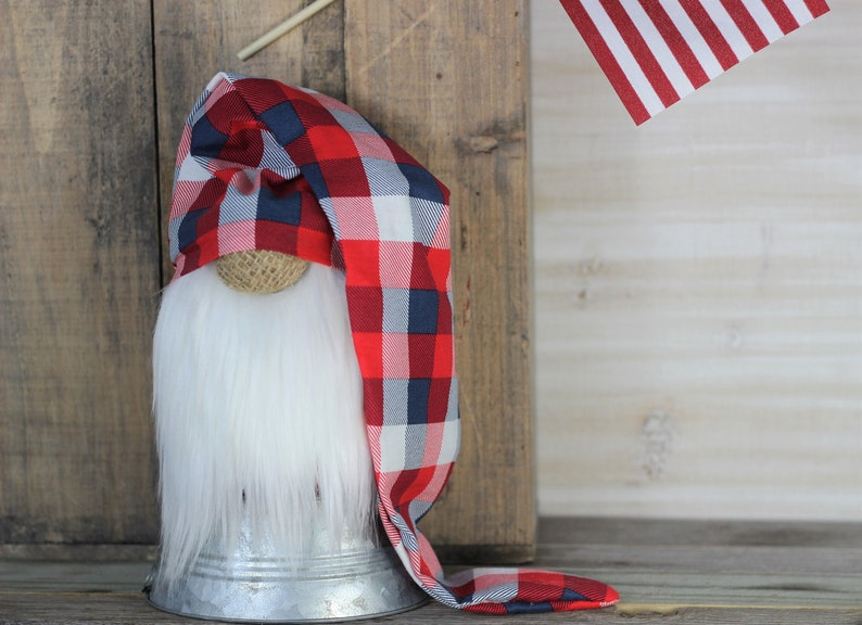Red White and Blue Buffalo Plaid Farmhouse Gnome w/  Slouchy image 0