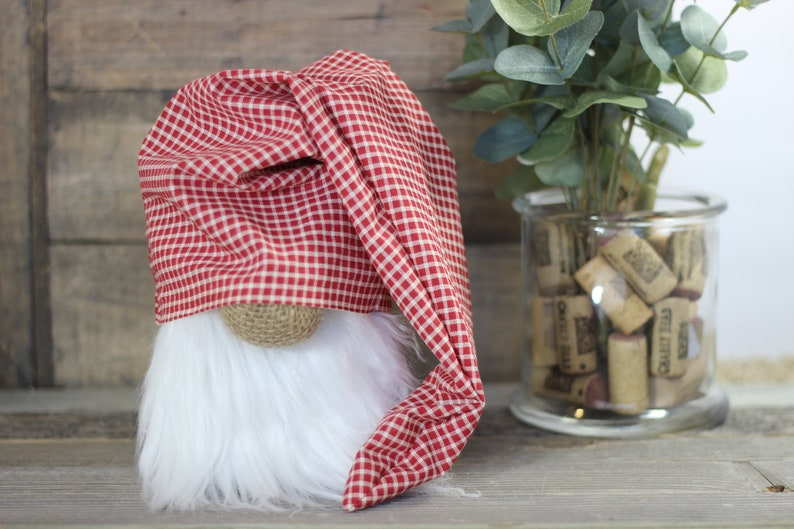 Red Check Farmhouse Gnome with Slouchy Hat image 0