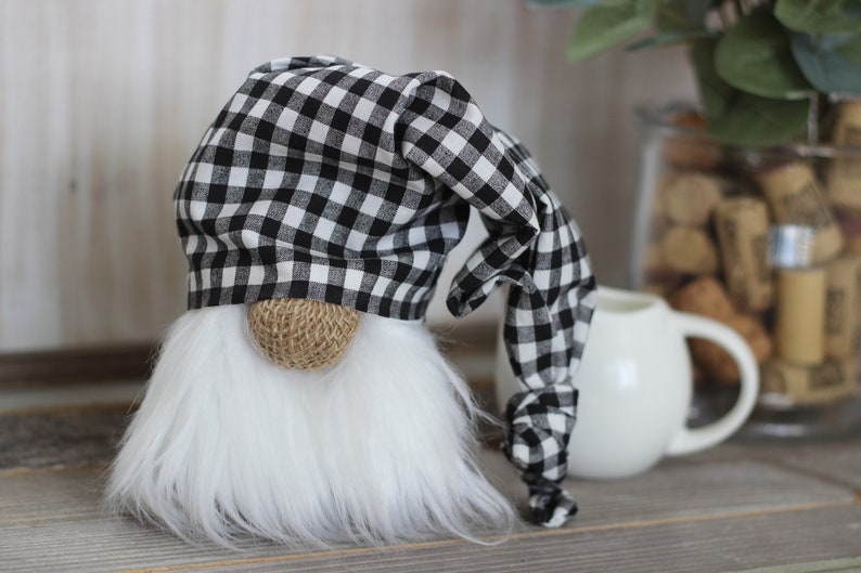 Buffalo Check and Burlap Gnome with Slouchy Hat Tiered Tray image 0