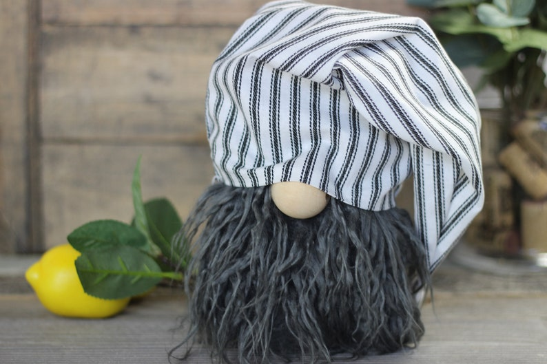 Striped Farmhouse Gnomes Slouchy Hat 2 Sizes  Tiered Tray image 0