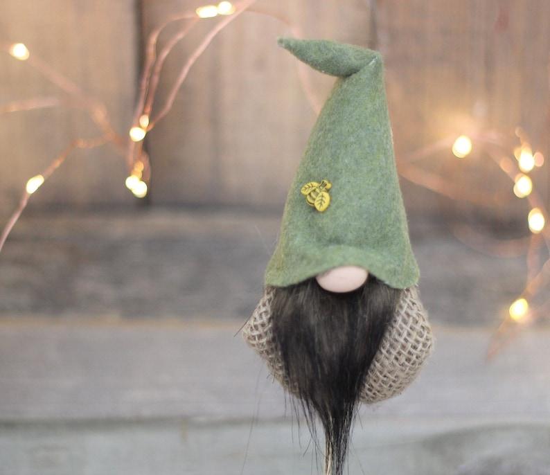 Scandinavian Gnomes Woodland Elf Moss Green Bee Lover Gift image 0