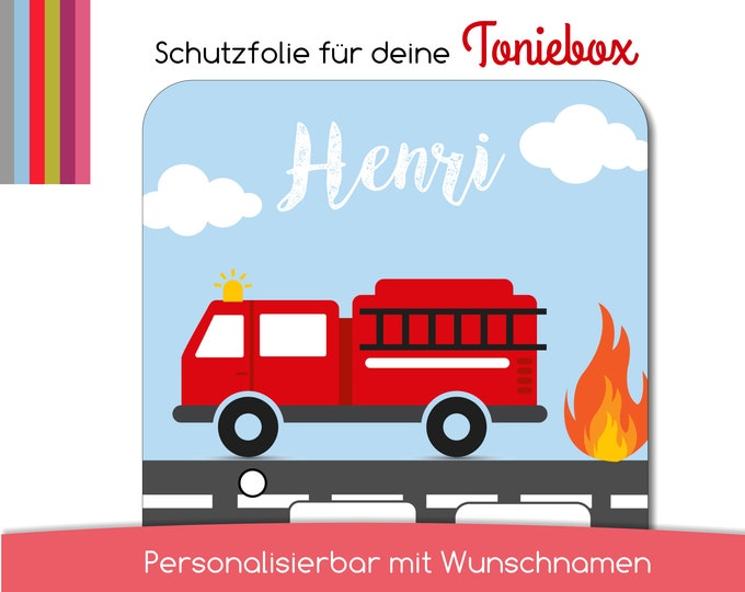 Protective film suitable for the Toniebox, fire engine, fire brigade