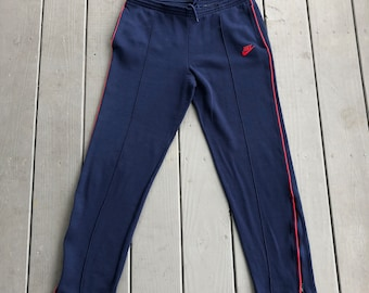 c764403e9434 Vintage 80s Nike Blue Tag sweatpant joggers--navy blue and red--size S