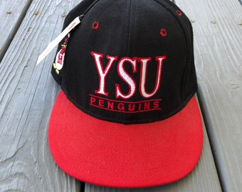 59a23aaafa2 Vintage Early 1990s 90s Youngstown State University Penguins deadstock strap  back hat-red and black-w  original tags!